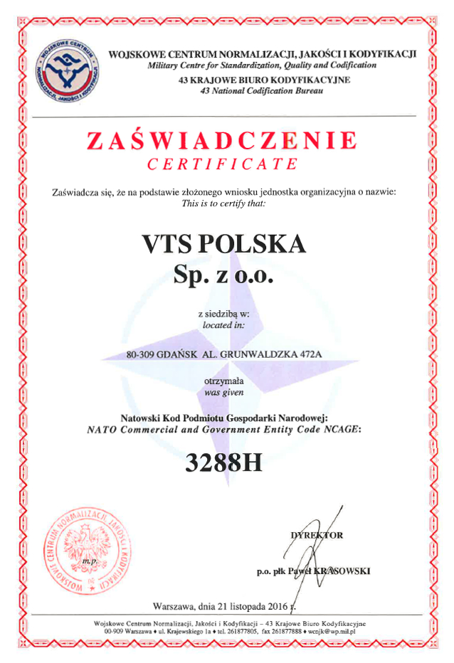 Vts Poland Obtained Nato Commercial And Government Entity Code